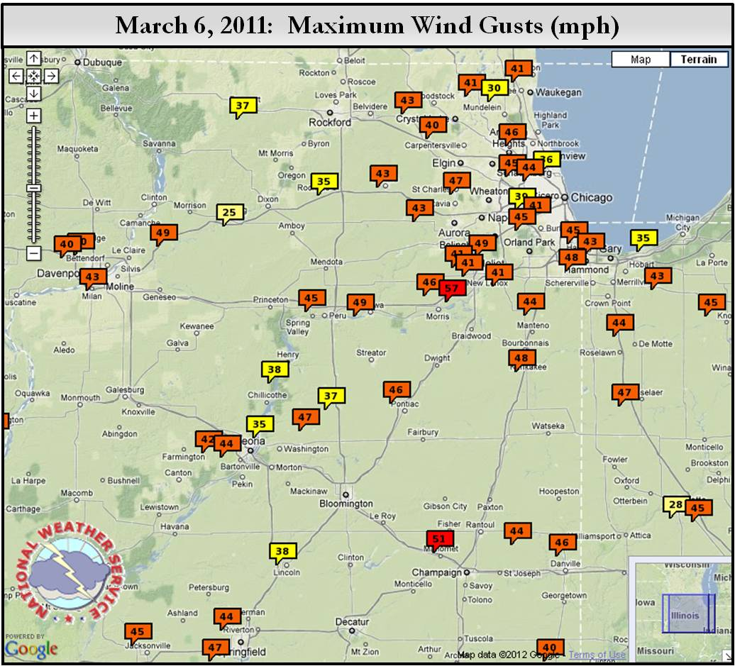 Mar 06th 2012 Area Wind Gusts