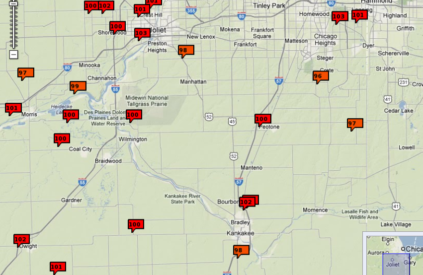 High temps arround the area